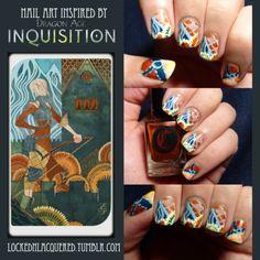 Dragon Age Inquisition - Sera Tarot nail art #nails #nailart #nailpolish #manicure #polish #dragonage #dragonageinquisition #dai #daisera #sera #tarot #bioware #dragon #freehand #essie #essienailcolor #essienailpolish #sallyhansen #cirque #cirquecolors #cirquelacquer #opi #opinaillacquer #opinailpolish