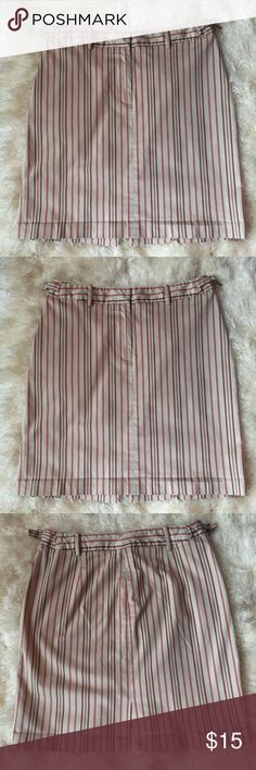 """The Limited skirt size 8 Adorable Limited red beige and brown striped summer skirt. Size 8.waist is 29"""" and length is 18"""", has cute side buckles at waist and little adjustable buckles at waist!! Too cute! The Limited Skirts"""