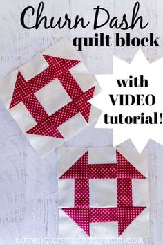 Learn to make the classic churn dash quilt block with this simple tutorial. Follow along with step-by-step pictures AND a video tutorial. Also print off a free size chart!