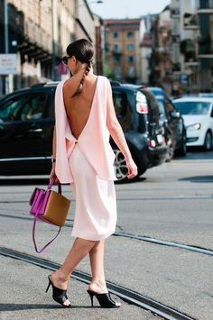 with light colors - Sleek and chic backless pink dress | Via  silhouettedskyline.com
