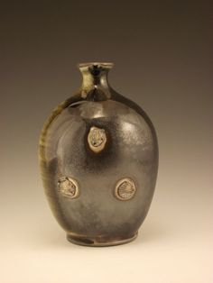Soda Fired Vase with Hare's fur Tenmoku Glaze by firebugpotter, Jayme Allen