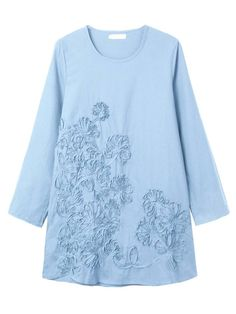 Casual Loose Embroidery Linen Women Mini Dress at Banggood