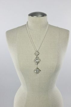 Pearl Wedding Necklace, Bridal Jewelry, Art Deco Swarovski Pearl & Rhinestone Long Back Drop Pendant Glam Necklace, Camilla Christine JOANNA