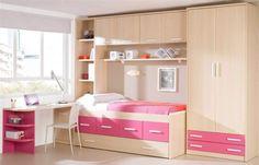 Victoria's Future bedroom   Habitat Youth Birch/White/Fuchsia Bedroom Set H115