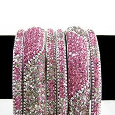 Pink and White Stone Studded Bangle Set