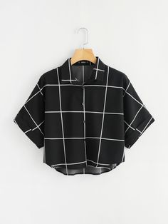 SheIn offers Cuffed Sleeve Grid Shirt & more to fit your fashionable needs. SheIn offers Cuffed Sleeve Grid Shirt & more to fit your fashionable needs. Girls Fashion Clothes, Teen Fashion Outfits, Girl Fashion, Girl Outfits, Fashion Women, Summer Outfits, Crop Top Outfits, Cute Casual Outfits, Stylish Outfits