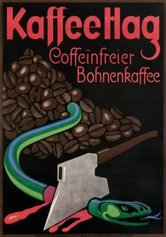 Kaffee Hag - Coffeinfrier Bohnenkaffee by Bernhard, Lucian | Winter Sport - Heiden by Burger, Wilhelm Friedrich | Shop original vintage Plakatstil #posters online: www.internationalposter.com