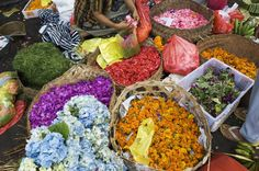 Flowers used for offerings for sale in the open market in Ubud, Bali.