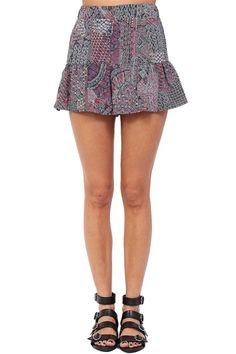 Multi Color Geometric Print Frill Shorts at Blush Boutique Miami - ShopBlush.com