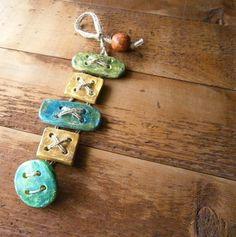 Ceramic Clay Bracelet -- Artisan Bracelet -- Large Ceramic Buttons -- Ready to ship