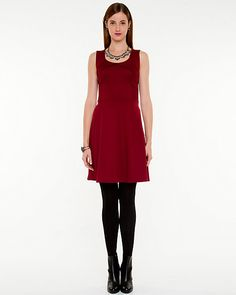 Ponte Knit Fit and Flare Dress