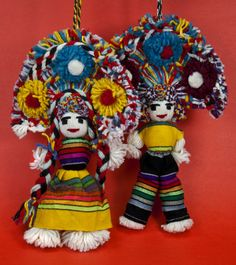 Pair of Dolls Made from Yarn