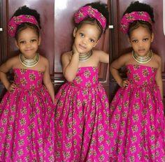 African dress for girls with headwrapgirls by Zedstylezfabrics