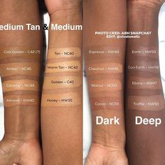 Here are the shades for @anastasiabeverlyhills stick foundations!