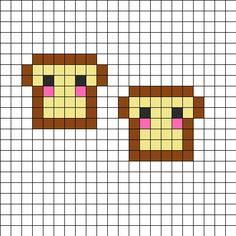 Cute Bread Twins Perler Bead Pattern | Perler Bead Patterns | Food Fuse Bead Patterns