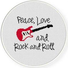 Peace Love Rock and Roll Cross Stitch Pattern