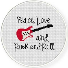 Peace Love Rock and Roll Cross Stitch Pattern