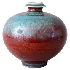 Unique Vase by Berndt Friberg for Gustavsberg, Sweden, 1971 | A unique vase by Berndt Friberg. The glaze varies from oxblood to green/blue. Signed and dated M=1971.