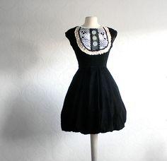 Upcycled Vintage Black Velvet Dress White Lace Bib 50's Style Cocktail Dress Women's Clothing Christmas Party XS Small. $82.00, via Etsy.