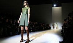 One of the Gucci outfits presented at the Milan Fashion Week show on Wednesday. Photograph: Alessandro Garofalo/Reuters