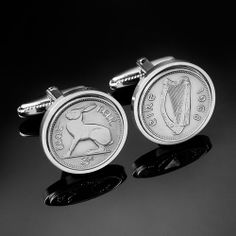 Irish Cufflinks including Irish Flag, 5p & 10p coins and Celtic Shield, bull, salmon, tri-colour, Cufflinks - from Irish Coin Cuff Links