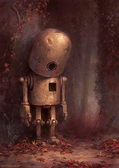 lovely gloomy robot painting Portrait Illustrations by Matt Dixon Arte Robot, Robot Art, Character Concept, Concept Art, Character Design, 3d Character, Portrait Illustration, Children's Book Illustration, Book Illustrations