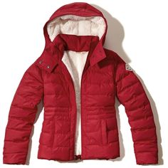 Hollister Sherpa Lined Puffer Jacket ($60) ❤ liked on Polyvore featuring outerwear, jackets, red, hollister co jackets, red puffer jacket, puffy jacket, hooded puffer jacket and puffer jacket