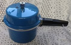 Rare Vintage Blue Prestige Pressure Cooker, Retro Kitchen