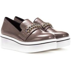 Stella McCartney Embellished Platform Slip-on Sneakers ($490) ❤ liked on Polyvore featuring shoes, sneakers, brown, platform shoes, pull-on sneakers, decorating shoes, brown sneakers and embellished sneakers