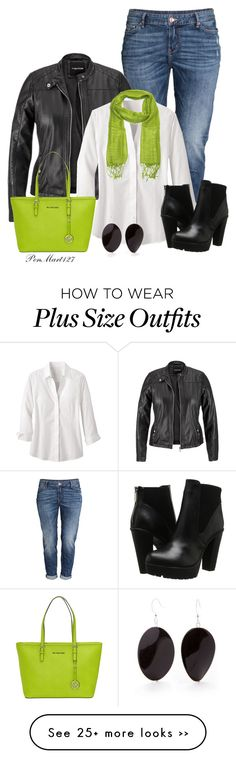 """Get your Moto Running Entry 1 #PlusSize"" by penny-martin on Polyvore featuring H&M, maurices, Foxcroft, Steve Madden, MICHAEL Michael Kors and Kim Rogers"