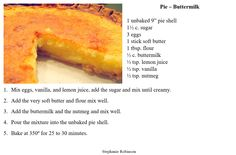 Buttermilk Pie - Just a tasty, simple thing.