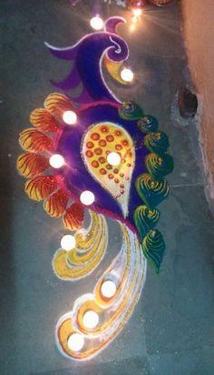 Peacock Diwali Rangoli Design