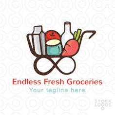 Endless Fresh Groceries - Shopping Cart Stock Logo Template