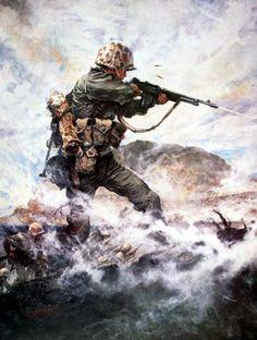 La Pintura y la Guerra The landing on the coast of Iwo Jima, Japan, in February 1945 - Charles Waterhouse.