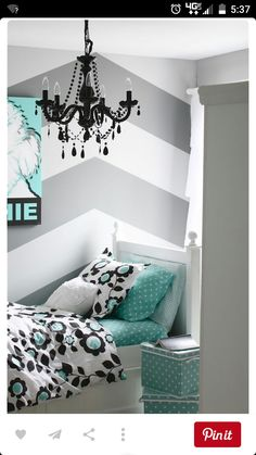 Gray and Turquoise Teen Bedroom - contemporary - kids - detroit - The Yellow Cape Cod love these colors and the chevron wall is fantastic Teenage Girl Bedrooms, Girls Bedroom, Bedroom Decor, Bedroom Ideas, Bedroom Colors, Girl Rooms, Bedroom Rustic, Teenage Room, Bedroom Furniture
