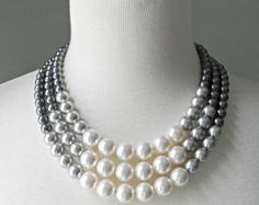 Color Block Triple Decker Necklace - in Gray - 3 Strand Colored Pearl Necklace. Pearl Jewelry, Diy Jewelry, Beaded Jewelry, Jewelry Box, Jewelery, Jewelry Necklaces, Handmade Jewelry, Jewelry Design, Jewelry Making