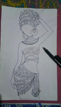 Art Drawings For Kids, My Drawings, String Wall Art, African Art Paintings, African Crafts, Indian Folk Art, Zentangle Drawings, Diy Canvas Art, Tribal Art