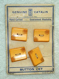 Antique-Buttons-Set-of-4-Original-Card-Catalin-Hand-Carved
