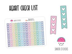 Doodle Heart Check List Stickers, Planner Stickers, Erin Condren, Plum Paper, Limelife, Journals. by SandiaStickers on Etsy