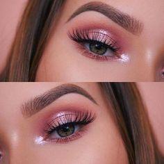 : Pink Eyeshadow Blue Eyeshadow For Brown Eyes eyeshadow Pink Pink Eyeshadow Look, Pink Eye Makeup, White Makeup, Makeup Eye Looks, Natural Eye Makeup, Eyeshadow Makeup, Natural Eyeshadow, Pretty Makeup, Simple Eyeshadow Looks