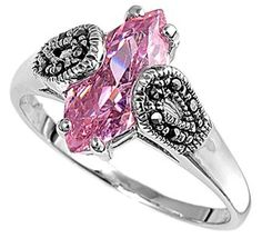13MM .925 Sterling Silver Luxury Beautiful Elegant Marcasite Pink cz Ring Size 5-10 -- New and awesome product awaits you, Read it now  : Jewelry Rings