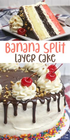 Banana Split Cake with layers of strawberry, vanilla and chocolate cake that looks like real ice cream is dripping on top. Banana Split Cake with layers of strawberry, vanilla and chocolate cake that looks like real ice cream is dripping on top. Best Cake Recipes, Dessert Recipes, Recipes For Cakes, Summer Cake Recipes, Layer Cake Recipes, Drink Recipes, Food Cakes, Cupcake Cakes, Bakery Cakes
