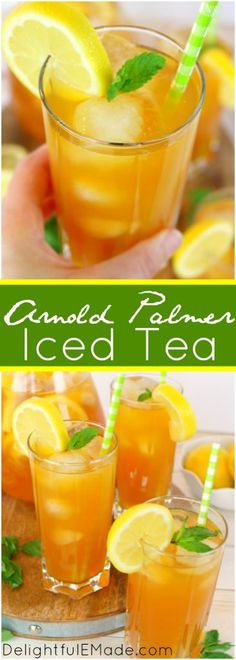 Arnold Palmer Iced Tea Iced tea and lemonade combine to form a refreshing, delicious drink! This classic summer drink, named after legendary golfer Arnold Palmer, is perfect for sipping after a round of golf or cooling off on a hot day! Refreshing Drinks, Summer Drinks, Fun Drinks, Healthy Drinks, Beverages, Iced Tea Cocktails, Cocktail Drinks, Batch Cocktail Recipe, Cocktail Recipes