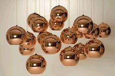 haus® is official stockist of all Tom Dixon furniture and lighting. A classic Tom Dixon design, the Copper Shade is created by exploding a thin layer of pure metal onto the internal surface of a polycarbonate globe. Copper Pendant Lights, Copper Lighting, Globe Pendant, Pendant Lighting, Copper Lamps, Bar Lighting, Element Lighting, Restaurant Lighting, Bronze Pendant