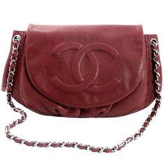 0882f1bda1c6 Chanel Wine Caviar Half Moon Flap Bag