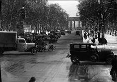 Berlin im Winter 1937 Charlottenburger Chaussee und Brandenburger Tor
