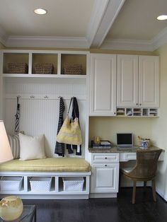 Russ: I envision something like this in mudroom - built-in bench (with cubicles. cabinets, and small desk. Pin Note: Making use of the small corner space in the tiny mudroom with smart seating [Design: Carlyn And Company Interiors + Design] Office Nook, Home Office, Office Decor, Closet Office, Office Setup, Room Closet, Office Seating, Desk Setup, Office Ideas