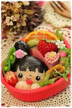 Japanese Odango Hairstyle Girl Kyaraben Bento Lunch by Saorin ♥ Bento