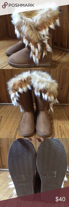 Unique Furry Boots New Absolutely adorable pair of gorgeous furry fluffy boots❣Faux fur & faux suede, Fur lined throughout the boot. Very warm! Never worn, I would never sell them if they weren't too big on me  Shoes Winter & Rain Boots