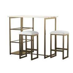 Charlton Home® Rea 3 Piece Dining Set & Reviews | Wayfair White Table Top, Grey Table, Faux Marble Countertop, Contemporary Dining Sets, Wood Table Bases, Pub Table Sets, Bar Tables, Dining Tables, Dining Chair